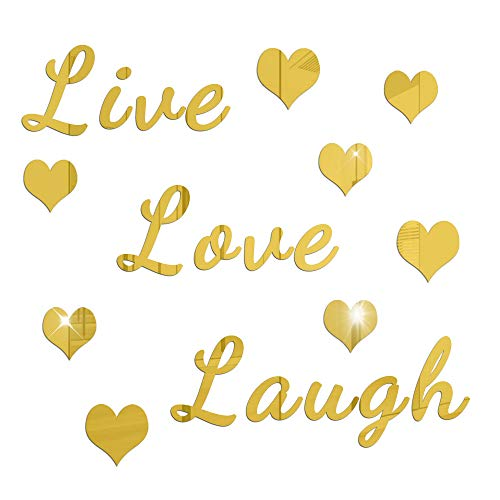 ATFUNSHOP Mirror Wall Stickers Live Love Laugh with Heart Home Decoration Decals Self Adhesive Multicolor Choice Acrylic
