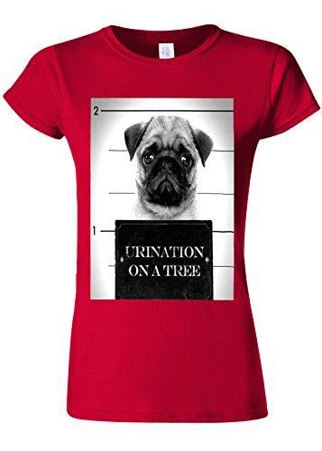 保育園割り当てる抑圧Pug Urination Mug Shot Funny Novelty Cherry Red Women T Shirt Top-XXL