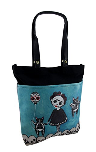 Vinyl Womens Tote Bags Lovely Girl W/Skeleton Cats & Skulls Dod Tote Bag 14 X 15.5 X 2 Inches Turquoise Blue Tote With Skull