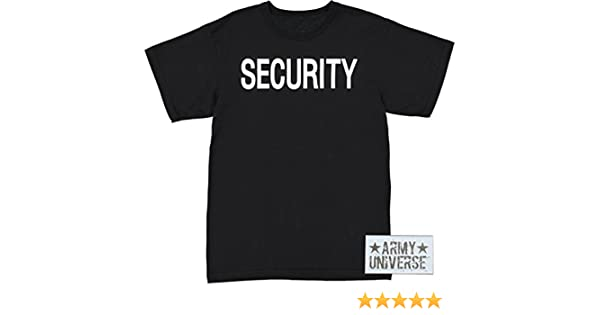 Amazon.com  Army Universe Black Security Double Sided Official Bouncer  Party Event Raid T-Shirt Security Staff Tee With Pin  Clothing e50be405e68