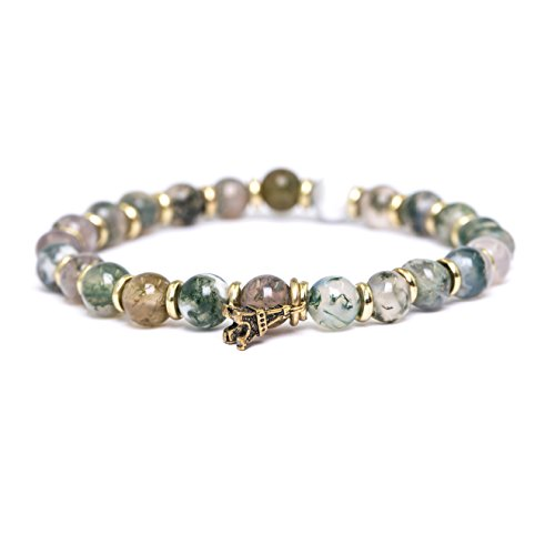 Tom+Alice 100% Natural Healing Power Moss Agate Bracelets for Women Beaded Stretch Gold Plating Eiffel Tower Pendant Charm Beads