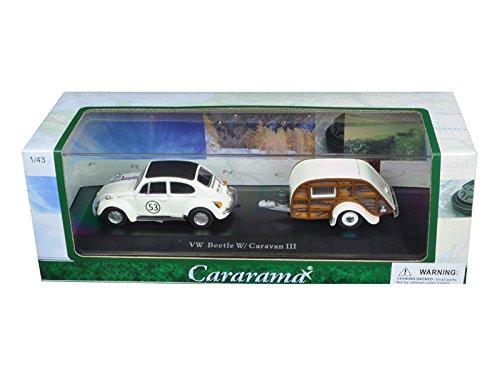 Cararama Volkswagen Beetle #53 with Caravan III Trailer in Display Case 1/43 Diecast Model Car