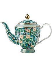 Maxwell & Williams Herbaty & C's Kasbah dzbanek do herbaty z zaparzaczem w pudełku upominkowym, porcelana, miętowa zieleń, 5 filiżanek (1 litr)