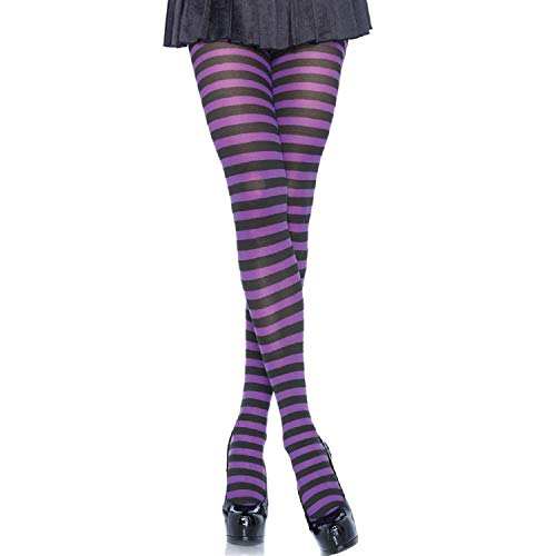 Leg Avenue Women's Nylon Striped Tights, Black/Purple, 1X / 2X -