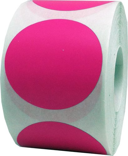 Hot Pink Color Coding Labels Round Circle Dots 2 Inch 500 Total Adhesive Stickers