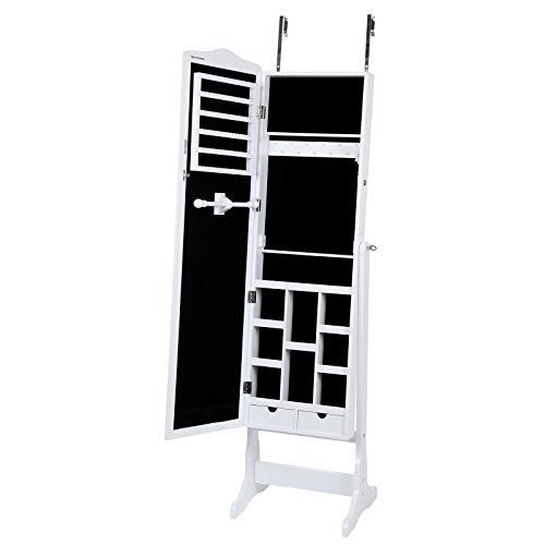 Songmics 3 in 1 (Standspiegel Wandschrank Schmuckschrank mit Aufhängehaken) 156 cm JBC84W