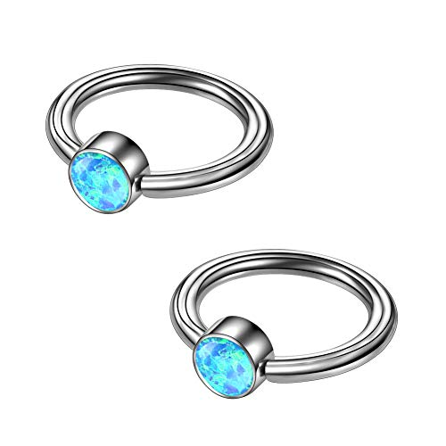 OUFER 2PCS 16G Grade 23 Titanium Captive Bead Ring Blue Opal Daith Earrings Nose Rings Cartilage Earring Eyebrow Septum 16 Titanium Captive Ring