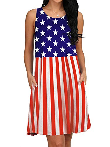 July Fourth Outfits for Women Flag Day Summer Sundress Pockets Patriotic Tank Dress M -