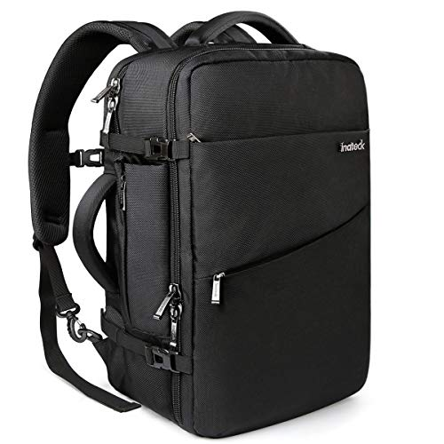 (Inateck 40L Travel Backpack, Flight Approved Carry-On Luggage Backpack, Anti-Theft Laptop Rucksack Large Daypack Weekender Bag for 17'' Laptop - Black)
