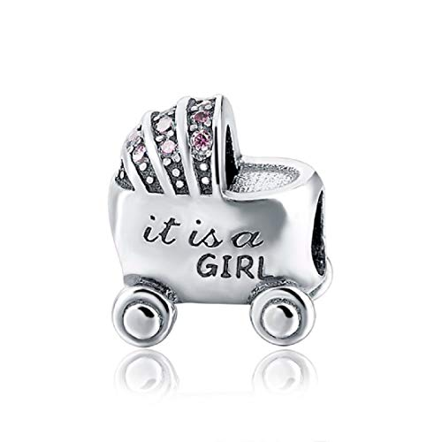 EVESCITY 925 Real Silver Gold Beads for Charm Bracelets ♥ Best Jewelry Gifts for Her Women ♥ (It's a Girl - Baby Carriage)