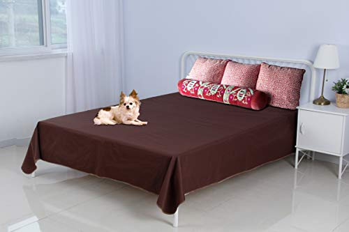 SILLY LEGACY Reversible Waterproof Protective Cover or Liner for Bed or Couch, for Dogs and Cats (Brown, King 82 x 96)