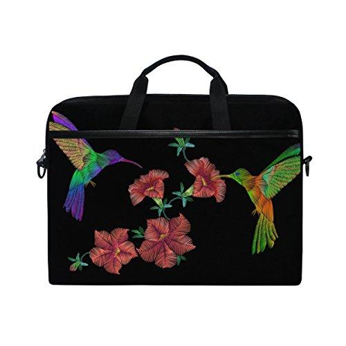 jstel Kolibri Rose Blume Laptop Schulter Messenger Tasche Fall Sleeve für 35,6cm zu 39,6cm mit verstellbarer Notebook Schultergurt