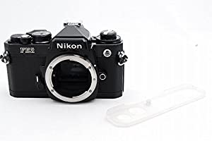 Nikon FE2 film SLR camera with black body; no lens