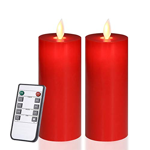 Red Flameless Candles Flickering LED Candles Battery Operated with Remote Control Timers for Home Party Wedding Christmas Decoration Dimmable Pillar Candles 5 inch Flat top 2pcs (Christmas Pillar Candle)