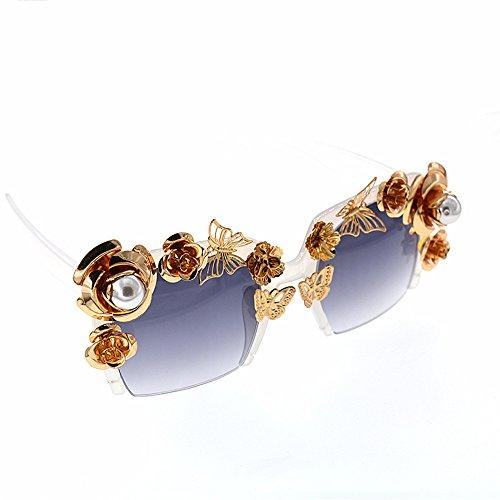 Baroque fleur Show lunettes or soleil perle soleil Style métal brillant les la lunettes à couleur lunettes plage papillon pour main nuances la soleil de nouveauté designer de Fashion Carré femmes de wqa81z1p
