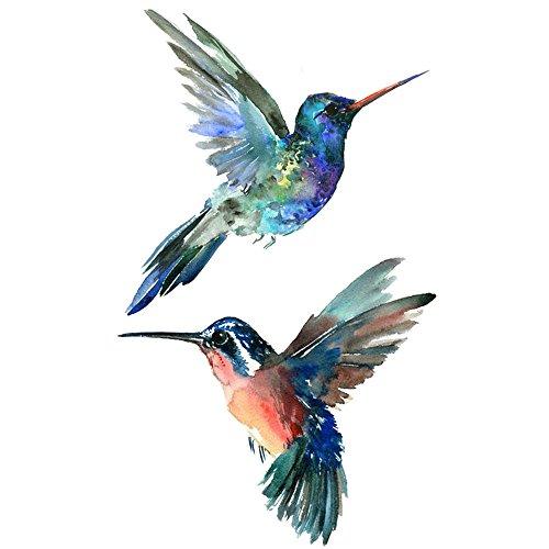 WYUEN 5 PCS Hummingbirds Women Body Temporary Tattoos Kids Fake Tattoo Stickers Children Body Art 9.8X6cm (FA-100)