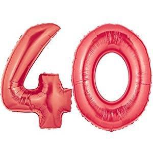 ocballoons® Palloncino 40 Anni Mylar Numero colore ROSSO altezza