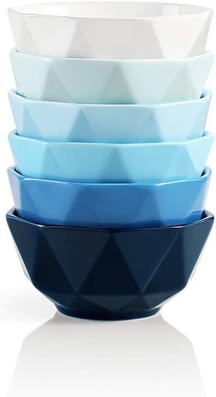 Ceramic Serving Bowls Stack Well for Kitchen Counter SWEEJAR Porcelain Bowls Geometric Design 23 Oz for Cereal Soup Set of 6 Blue Side Dishes Pasta Nuts