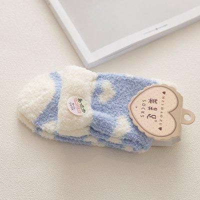 Maivasyy 3 paires de chaussettes femme chaud épais Coral Fleece Mesdames dormir l'automne et l'hiver mignon en tube Home Marbre bleu ciel, chaussettes