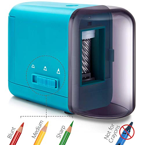 Colored Pencil Sharpener, Electric Battery Operated Pencil Sharpener for Colored Pencils(6-8mm), Fast Sharpen, 3 Settings, Portable Pencil Sharpener for Kids, AC/USB/AA Battery Operated with Adapter