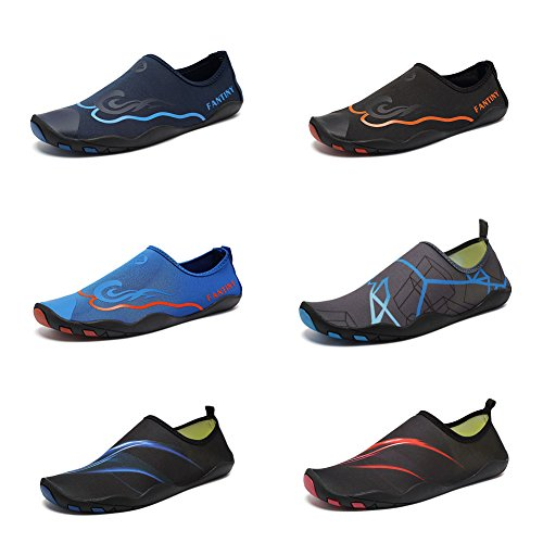 CIOR Men Women Kid's Barefoot Quick-Dry Water Sports Aqua Shoes With 14 Drainage Holes For Swim, Walking, Yoga, Lake, Beach, Garden, Park, Driving,DND012,1Black,44 1