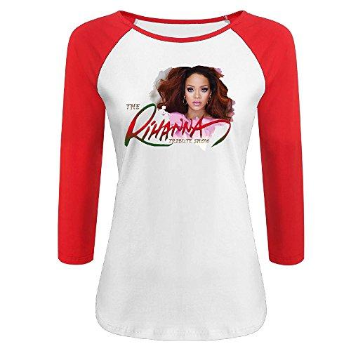Women's Rihanna 100% Cotton 3/4 Sleeve Athletic Baseball Raglan T-Shirt Red US Size XL