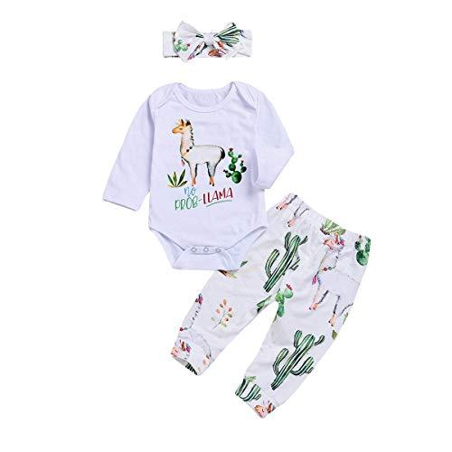 Baby Girls Boys Romper Newborn Alpaca Print Bodysuit Bowknot Headband Cactus Floral Pants Outfits Set (Baby Cactus Clothes, 70/0-6 Month)