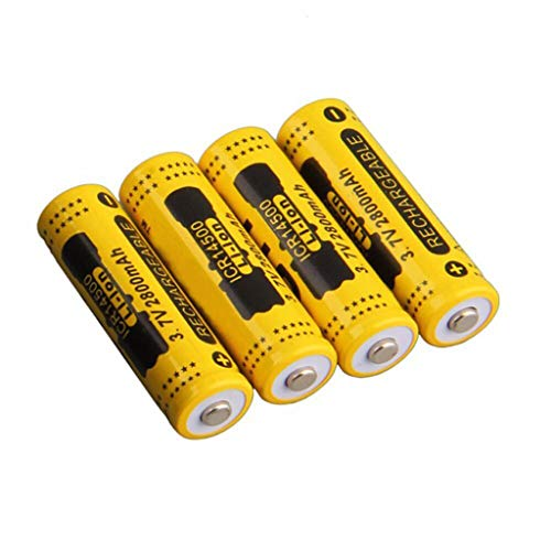 4 Pcs 3.7V 2800mAh 18650 Batteries, ♥ SHUDAGE Lithium-ion Rechargeable for Electric Toys, Tools, LED Flashlights, Torch, Household Appliance (Yellow)