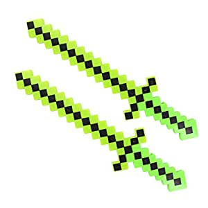 Lot of 2X Light-Up Diamond Pixel Sword LED Motion Activated & Flashing Lights - Green