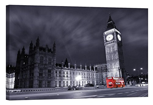 LightFairy Glow in The Dark Canvas Painting - Stretched and Framed Giclee Wall Art Print - London England Cityscape Big Ben at Night - Master Bedroom Living Room Decor - ()