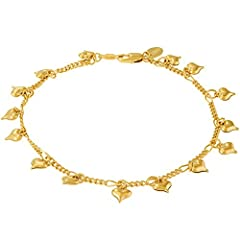 Dangling Hearts Ankle Bracelet. Comes in 3 sizes: 9, 10 and 11 inches 24K Gold Color: Yellow Package: Shipped in a pouch for easy gift giving Clasp: Lobster Claw - Very Durable Made in USA 100% Satisfaction Guaranteed + Lifetime Warranty