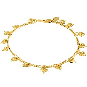 Lifetime Jewelry Dangling Hearts Anklet for Women & Teen Girls 24k Gold Plated