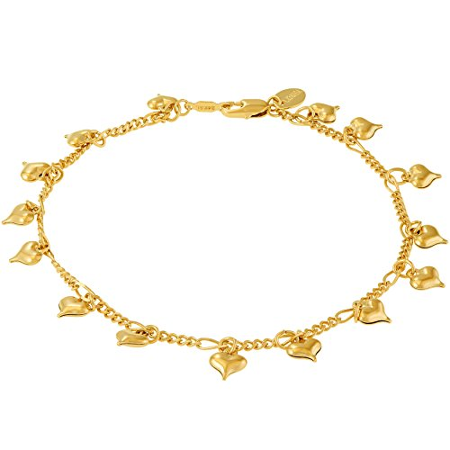 Lifetime Jewelry Anklets for Women and Teen Girls - 24K Gold Plated Chain with Dangling Hearts - Ankle Bracelet to Wear at Beach or Party - Cute Surfer Anklet - 9 10 and 11 inches (10) 10k Gold Plated Charm Bracelet