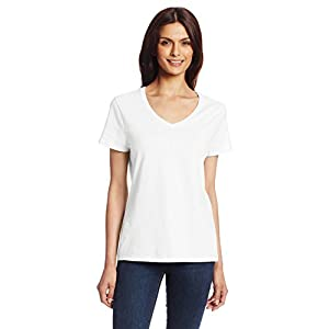 Hanes Women's Nano Premium Cotton V-Neck Tee, White, Large