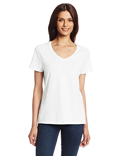 White V-neck Tee (Hanes Women's Nano Premium Cotton V-Neck Tee, White, Medium)