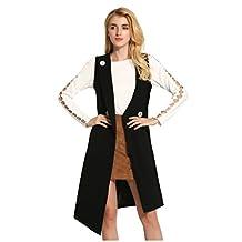 SODIAL(R) Women's Spring Autumn Plus Size Women Long Vest Coat Jacket V-neck Sleeveless Single Button Irregular Long Outerwear Coat Vests (Black, L)