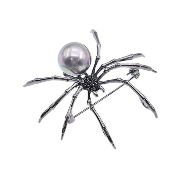 Qlychee Victorian Spider Brooch Rhinestone Body Breastpin Pearl Steampunk Jewelry Gift 3