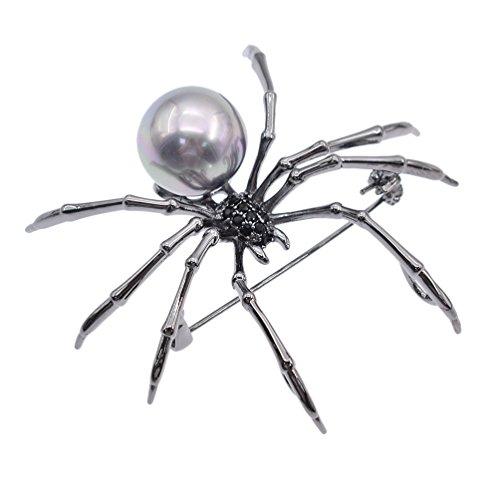 Qlychee Victorian Spider Brooch Rhinestone Body Breastpin Pearl Steampunk Jewelry Gift