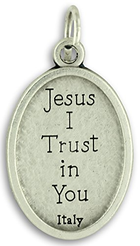 Gifts Catholic, Inc. Bulk Buy 10 Pcs - Divine Mercy Jesus I Trust in You 1 Inch Medal Medals Pendants Charms with Rings
