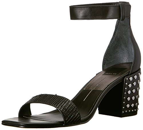 Dolce Vita Women's DORAH Heeled Sandal, Black Sliced Leather, 6 M US