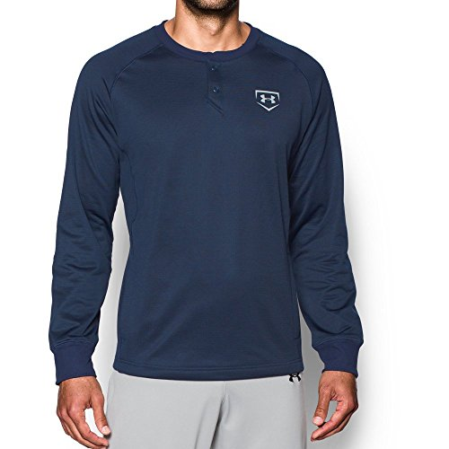 Under Armour Men's Baseball Long Sleeve Henley Top, Midnight Navy /Baseball Gray, Large