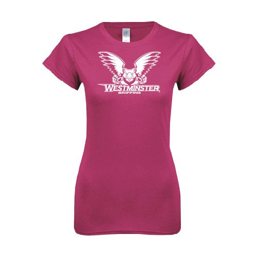 Westminster College Ladies SoftStyle Junior Fitted Fuchsia Tee 'Official Logo'