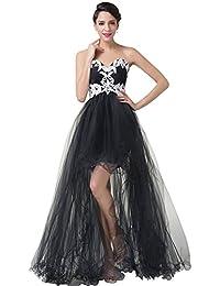 High Low Tulle Ruffles Prom Dress Appliques Beach Wedding Dress