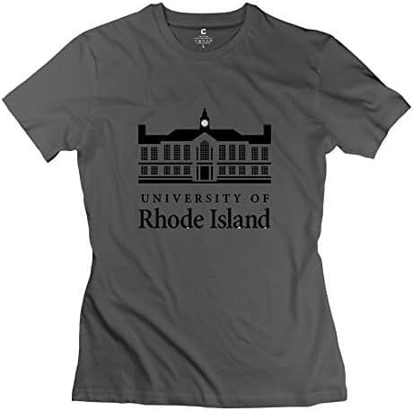 White 100% Cotton University Of Rhode Island T Shirts For Girlfriend