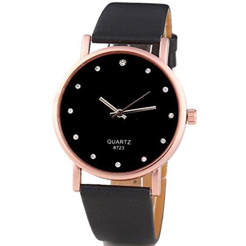 Quality Diamond Watch (Analog Quartz Watches for Women On Sale Clearance Cuekondy Diamond Leather Band Round Dial Luxury Dress Wrist Watch (Black))