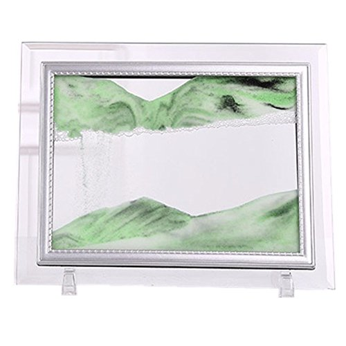 Yuanlar Deep Sea Moving Sand Art Picture Sandscapes in Motion Office Desktop Art Decor Toys Christmas Gift (Green, 7''x8.7)