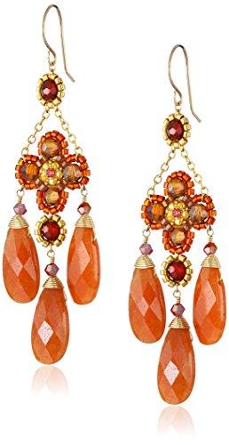 Dangle Carnelian Flower Earrings - Miguel Ases Carnelian 3-Drop Flower Earrings