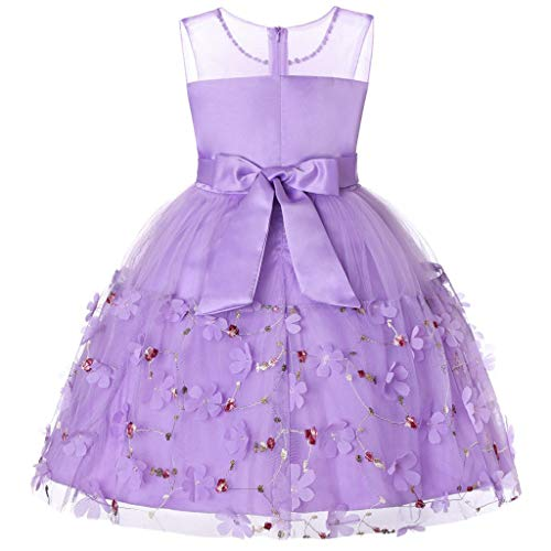 Child Girls Kids Lace Performance Formal Floral Ruffles Princess Dress Purple ()