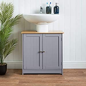 CHRISTOW Under Sink Bathroom Cabinet, Free Standing Wooden Sink Storage Unit, Grey & Bamboo Furniture, Basin Cupboard…