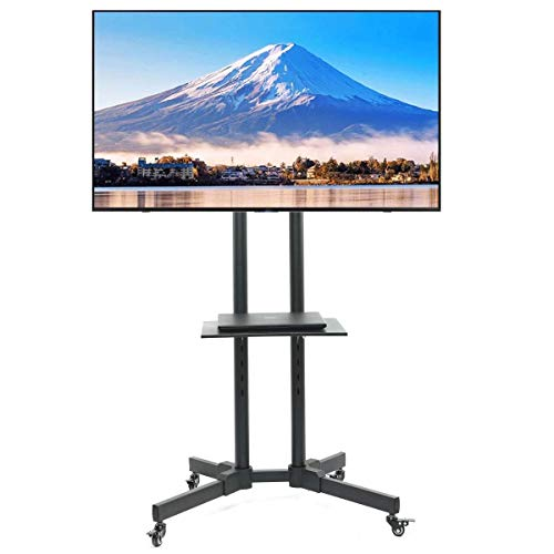 ORAF Rolling TV Cart Mobile TV Stand Height Adjustable with Locking Wheels for 32 to 65 inch LCD LED Plasma Flat Panel Screen (50 Inch Flat Screen Stand)